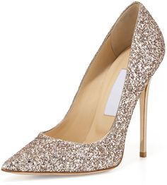 Jimmy Choo Abel Glitter Pointed-Toe Pump, Nude