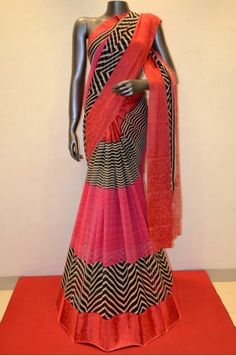 Printed Pink Silk Chiffon With Satin Border  Product Code: SSJG00295