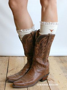 Lacey Fan UNIVERSITY OF TEXAS Boot Socks cable knit boot sock with lace and school logo - collegiate boot socks.      Pinned by http://high5collegeclub.com