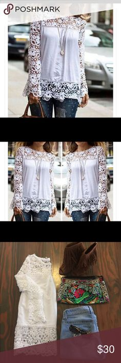 White lace chiffon blouse White lace chiffon blouse.  Beautiful light weight top.  Measurements in picture.   👜Note: bag also available for purchase. Tops