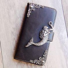 Mermaid phone wallet Leather flip case Stand Card cover For LG K7 G5 G flex V10…
