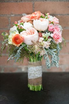 pink and peach wedding bouquet by Fleurs De France. I want to have another wedding JUST to have this bouquet! Fall Wedding Bouquets, Floral Wedding, Wedding Flowers, Bridesmaid Bouquets, Diy Flowers, Peach Flowers, Bridal Bouquets, Wedding Bridesmaids, Our Wedding