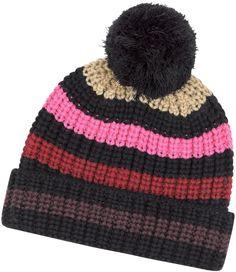 a22e875a132 Sonia Rykiel Multico Cardinal Large Stripes Wool Pompom Hat Pom Pom Hat