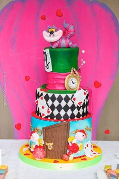 Cake from an Alice in Wonderland Birthday Party via Kara's Party Ideas KarasPartyIdeas.com (14)