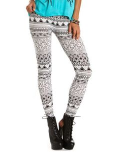 #Black and #White #Tribal #Aztec #Spandex #Leggings by #MiniPinkDenim, $23.99