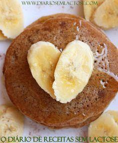 Panquecas de Banana Sem Glúten, Sem Lactose, Sem Ovos