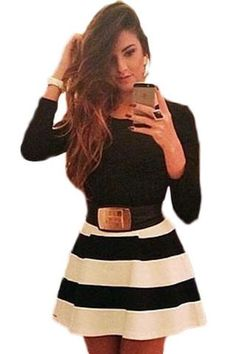 Sexy Long Sleeve Belted Black White Stripes Dress MB21980