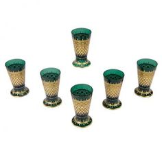 6 Lobmeyr Hand Blown Tumblers with Hand Painted Enamel Decoration | Elise Abrams Antiques
