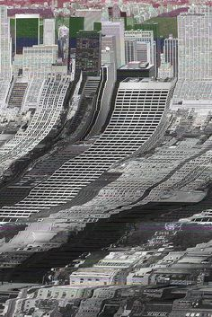 glitch art - the top of this image is ordered as it's the original image and then the lower section is disordered as it's a glitch.: