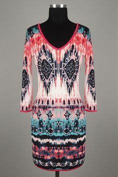 *** New Style *** Sexy Figure Hugging Knit Mini Dress with Classic V Neckline in Summer Haze Tie Dye Tribal Print.