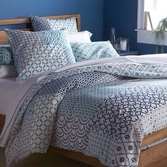 Hand blocked duvet cover from crate & barrel