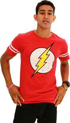 The Flash Distressed Logo With Striped Sleeves Red Adult T-shirt  $24.95 #tvstoreonlinewishlist