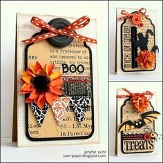 Halloween cards with tags.luv the collages on the tags. Dulceros Halloween, Halloween Paper Crafts, Holidays Halloween, Halloween Decorations, Fall Cards, Holiday Cards, Handmade Tags, Handmade Crafts, Halloween Scrapbook