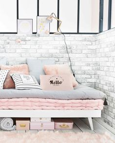 Soothing and elegant, combine gray and pink in a girl's bedroom and . My New Room, My Room, Girl Room, Girl Bedroom Designs, Girls Bedroom, Bedroom Decor, Bedrooms, Milan Furniture, Home Decor Furniture
