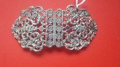 Scottish Victorian 2-piece Solid Sterling Silver Nurses Buckle featuring a pierced scroll design