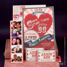Fun Sideshow Circus Wedding Save the Date Invitation with Tickets by CottontailDigitalPress, via Flickr