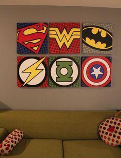 mine batman wonder woman Captain America super man Green Lantern flash super hero l-u-n-a-t-i-c-s Comic Kunst, Comic Art, Comic Book, Acrylic Painting Canvas, Canvas Art, Superhero Room, Superhero Bathroom, Country House Design, Geek Decor