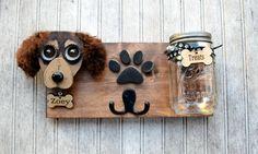 Soporte de correa de perro personalizado con tratar el tarro.