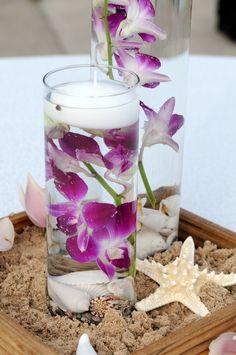 Flowers & Decor, white, purple, Centerpieces, Flowers, Centerpiece, Orchid, Tropical, Orchids, Sand, Dazzling bouquets, Drowned
