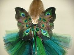 Elegant Peacock Fairy wings, tutu and wand for your baby toddler or child by creaturesbychase on Etsy
