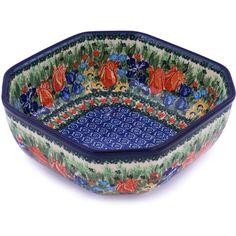 Polish Pottery 9-inch Bowl   Boleslawiec Stoneware   Polmedia H0489G   Polmedia