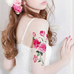 Rose Flower And Peony Print Tattoo Temporary For Girls Pinup Photo Shoot