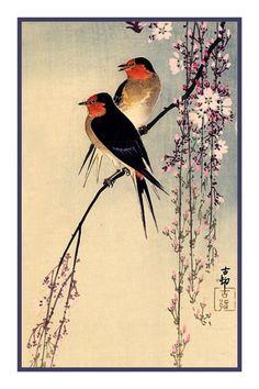 Ohara Shoson Koson Swallows Cherry Blossoms Counted Cross Stitch Chart #OrencoOriginals #OrencoOriginals