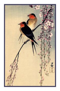 Ohara Shoson Koson Swallows Cherry Blossoms Counted Cross Stitch Chart #OrencoOriginals #OrencoOriginals