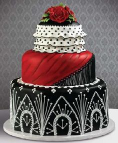 Flamenco wedding cake with red and black ruffles and trims
