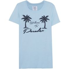 Zoe Karssen Welcome To Paradise printed cotton and modal-blend T-shirt ($47) ❤ liked on Polyvore featuring tops, t-shirts, light blue, light blue t shirt, zoe karssen tee, blue t shirt, modal tee and loose tee