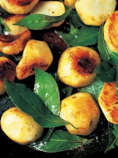 Sautéed Jerusalem artichokes with garlic & bay leaves- Awesome awesome awesome. Used champagne vinegar, which was so good, and put these on a bed of arugula with shavings of parmesean cheese. Great!