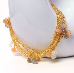 Moonstone  Multi Strand Chain Bracelet by Agusha. Chain And