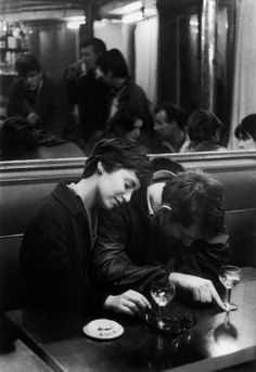 """Couple in La Methode cafe, Paris, 1960"""
