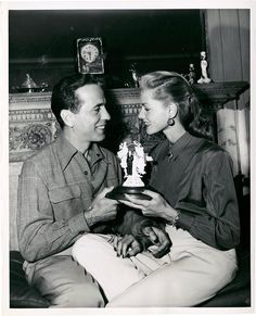 "Humphrey Bogart and Lauren Bacall. Bogie and Bacall by Eugene Robert Richee (1945): As Judge Shettler said, ""I now pronounce you man & wife"", Bogie and I turned toward each other - he leaned to kiss me - I shyly turned my cheek - all those eyes watching made me very self-conscious. He said, 'Hello Baby'. I hugged him and was reported to have said, ""Oh, goody."" Hard to believe, but maybe I did…. By Myself and Then Some by Lauren Bacall"
