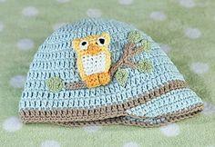 Blue Owl Crocheted Cotton Cap