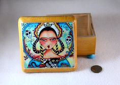 Mexican Jewelry Box with Frida, by Mary Ann Farley, $24.00