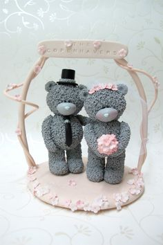 Me to You bears  wedding cake topper with name by claydoughandme, $89.90