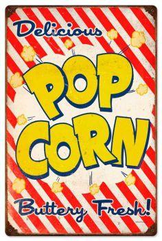 Retro Popcorn Tin Sign 16 x 24 Inches