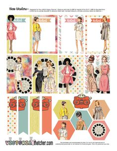 FREE View Masters Printable BY Victoria Thatcher Retro style planner stickers Planner Free, Planner Pages, Happy Planner, Victoria Thatcher, Reset Girl, Stickers Design, Planner Supplies, Planner Ideas, Freebies