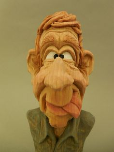 Hand Carved Wood Caricature Bust by CarvingsbyTony on Etsy, $55.00