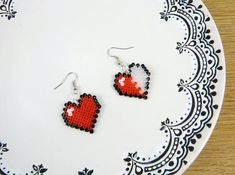 HP hearts earrings Valentines Day pixel art minecraft