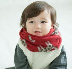 Korean infants and children baby wool scarf little cat collars warm winter boys and girls cartoon scarves A22