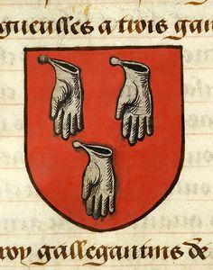 Escutcheon decorated with heraldry of Baudemagu (gules, three dexter gloves (fingers downward) argent) | Noms, armes et blasons des chevaliers de la Table Ronde | France | ca. 1500 | The Morgan Library & Museum