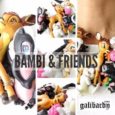 Quirky Bambi statement necklace, featuring animated cartoon Bambi and friends, the characters of the American classic cartoon Bambi movie. A world of colourful charms including Bambi the deer Prince, Thumper rabbit and Flower the skunk. Set on a entwined black woven thread with black tassels and miniature butterfly, carrot and strawberry charms. Another Galibardy exclusive statement necklace that will stand out from the crowd. SHOP NOW: http://galibardy.com/product-category/necklaces.html