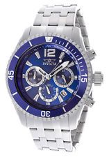 New! Invicta Mens 14807 Specialty Chronograph Blue Dial Stainless Steel Watch
