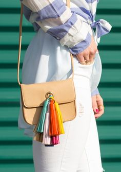 DIY Rebecca Minkoff Sofia Crossbody Handbag, Multi-Color Leather Tassels, Inexpensive DIY for Summer!