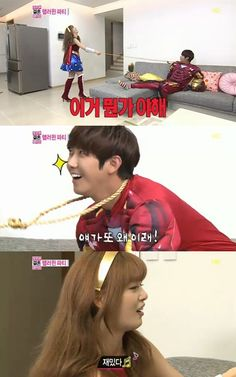 """On MBC's reality show """"We Got Married (aka WGM)"""" that was broadcasted on November 17, all the couples in the """"WGM Town"""" showed off their costumes for the Halloween party.    On this episode, Kwanghee transformed into the character """"Iron Man"""" while Han Sunhwa transformed into """"Wonder Woman."""" They appeared to be happy with their costumes, and they started to role play."""