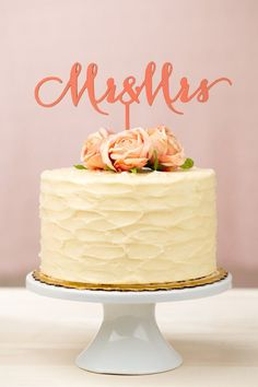 Coral wedding cake topper by Better Off Wed on Etsy #wedding #weddingcake #caketopper #coral #cake