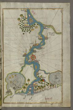 Illuminated Manuscript, Map of the river Nile from its estuary south from Book on Navigation, Walters Art Museum Ms. W.658, fol.304b | Flick...