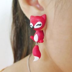 Fashion new lovely red fox stud earring polymer clay cute animal earrings for women brincos jewelry Cheap Earrings, Cuff Earrings, Cute Polymer Clay, Polymer Clay Earrings, Animal Earrings, Craft Markets, Red And White, White Fox, Unique Jewelry